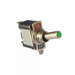 Green LED bat handle metal toggle switch