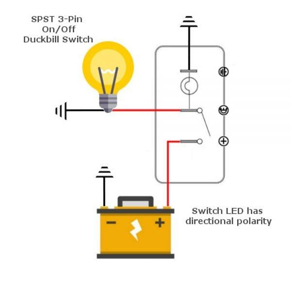 12v Lighted Duckbill Toggle Switch