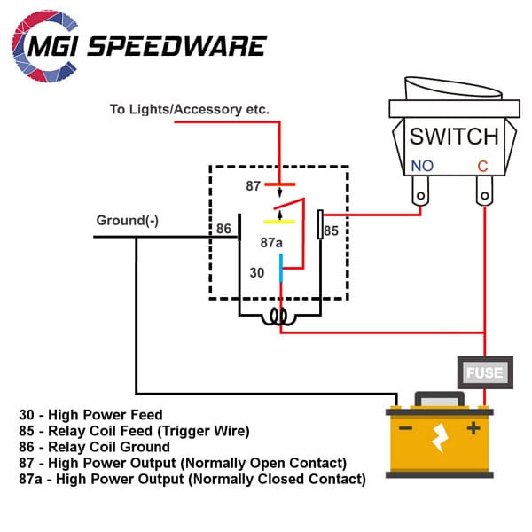 [WQZT_9871]  5-Pin Relay and Socket Harness | MGI SpeedWare | 87 And 87a Relay Wiring Diagram |  | MGI SpeedWare