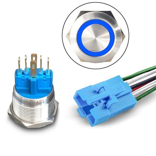 Blue LED pushbutton with Socket