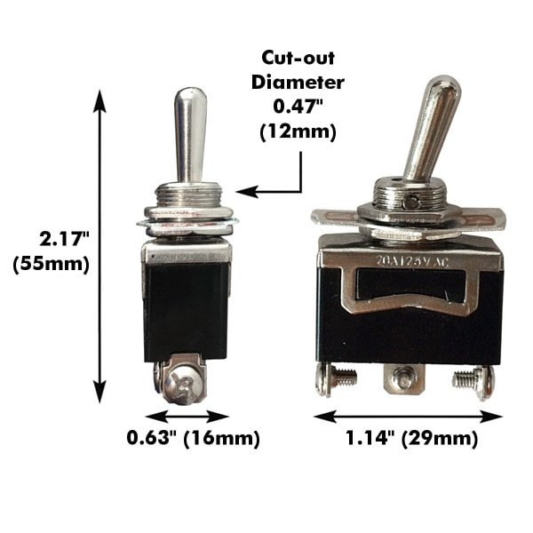 Metal Toggle Switch 3-Pin SPDT On/Off/On