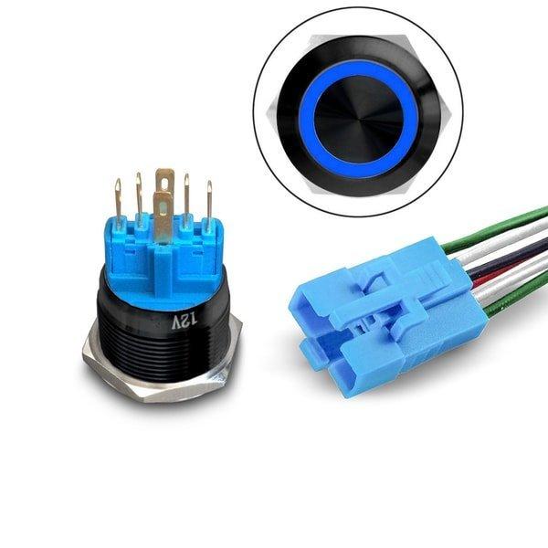 LED pushbutton Black with Socket blue
