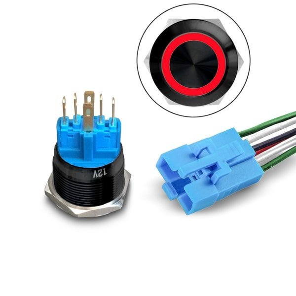 LED pushbutton Black with Socket red