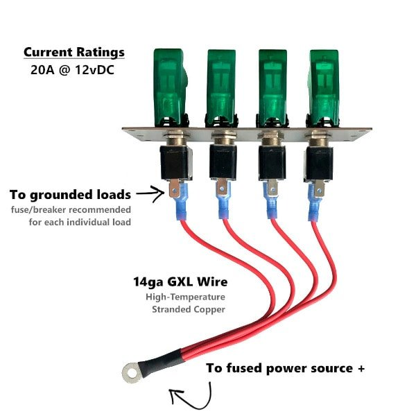 led toggle switch panel wiring