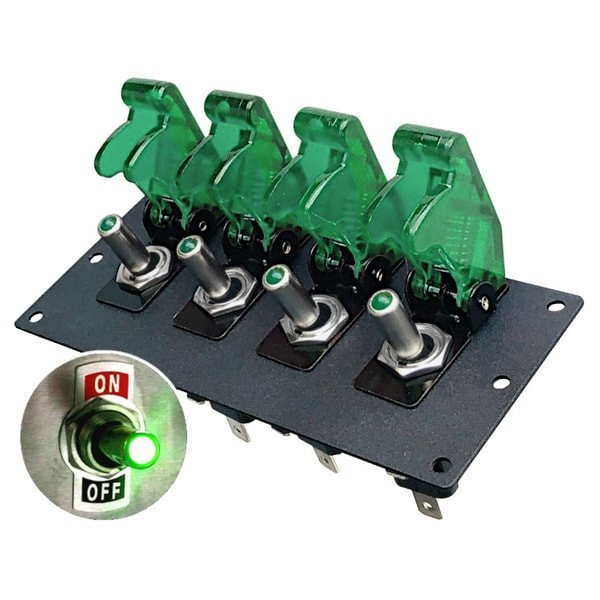 4 Lighted Toggle Panel with Safety Covers - Black