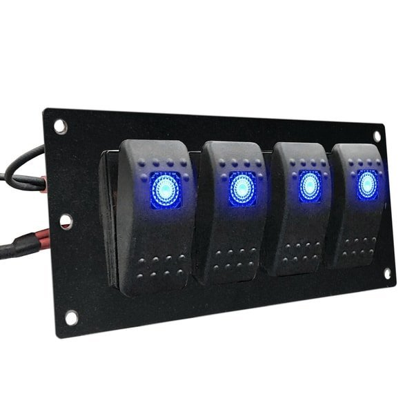 marine rocker switch panel blue lighted