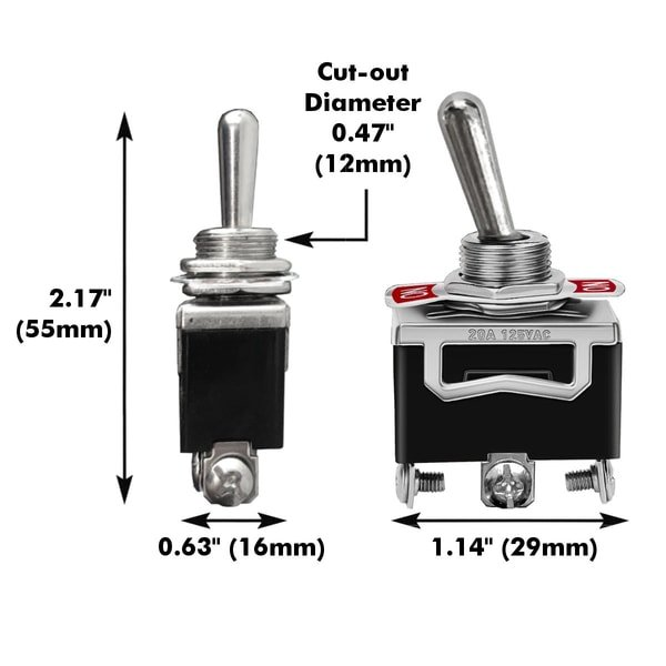 spdt toggle switch dimensions