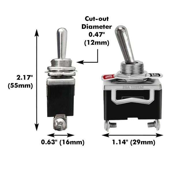 spst toggle switch dimensions