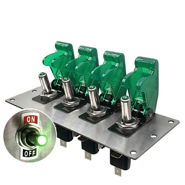 led toggle switch panel green