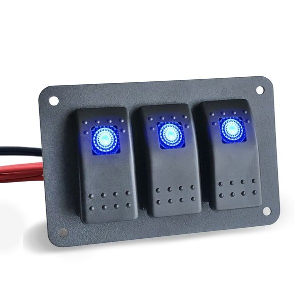3 marine rocker switch panel blue